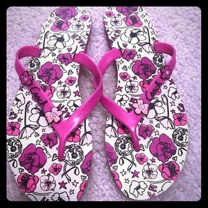 Coach Camela Floral Pink Flip Flops Women Size 10B
